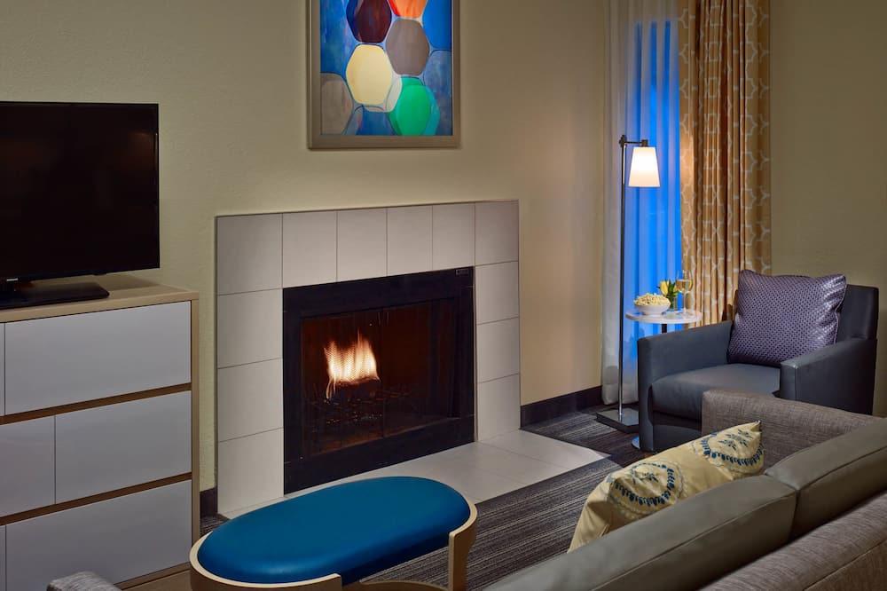 開放式套房, 1 張特大雙人床, 壁爐 - 客廳