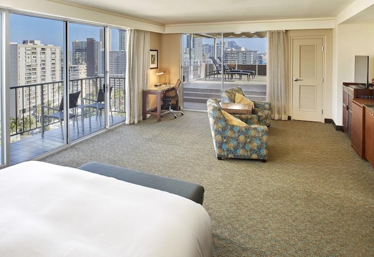 DoubleTree by Hilton Hotel Alana - Waikiki Beach, Honolulú, Suite, 1 cama de matrimonio grande, vistas parciales al mar (Manoa, Deck), Habitación