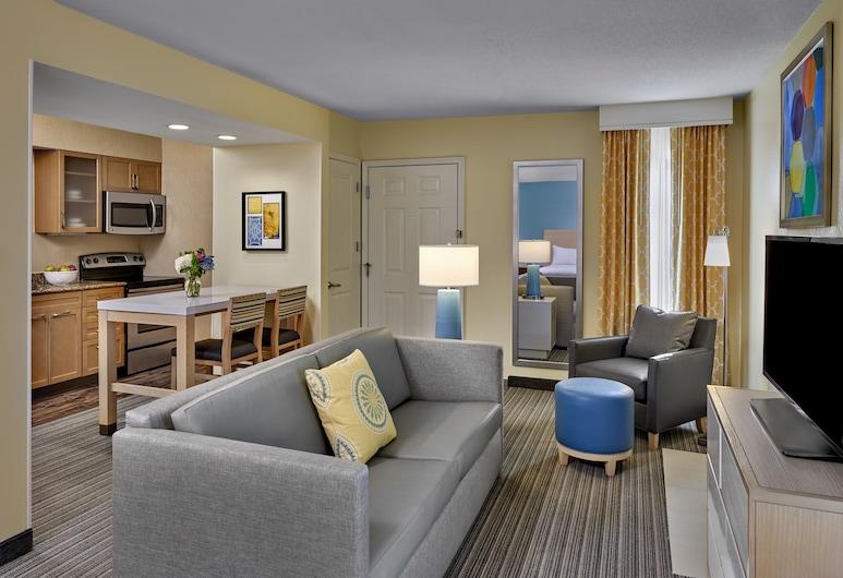 Sonesta ES Suites Cleveland Airport, Middleburg Heights, Studijas tipa luksusa numurs, 2 divguļamās karalienes gultas, Dzīvojamā zona