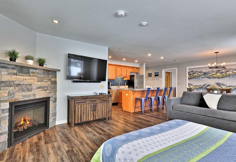 Killington Center Inn & Suites, Killington, Deluxe suite, 1 slaapkamer, open haard, Woonruimte