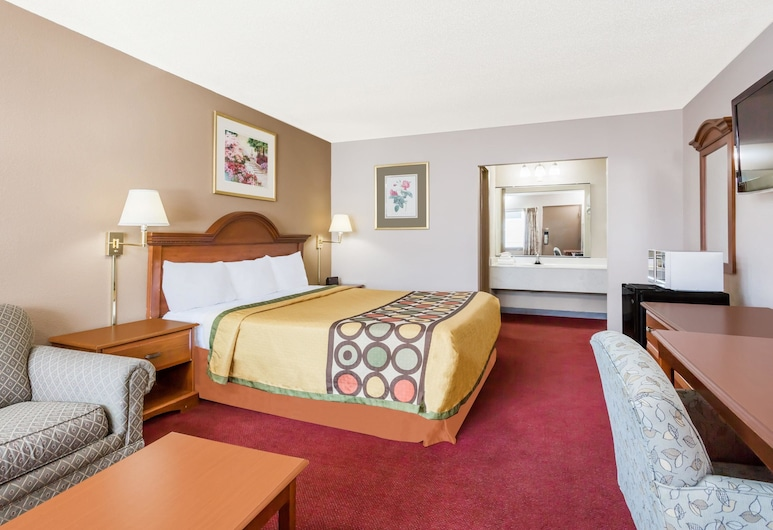 Super 8 by Wyndham Greensboro, Grinsboras, Kambarys, 1 labai didelė dvigulė lova, Rūkantiesiems, mikrobanginė krosnelė (Pet Friendly), Svečių kambarys