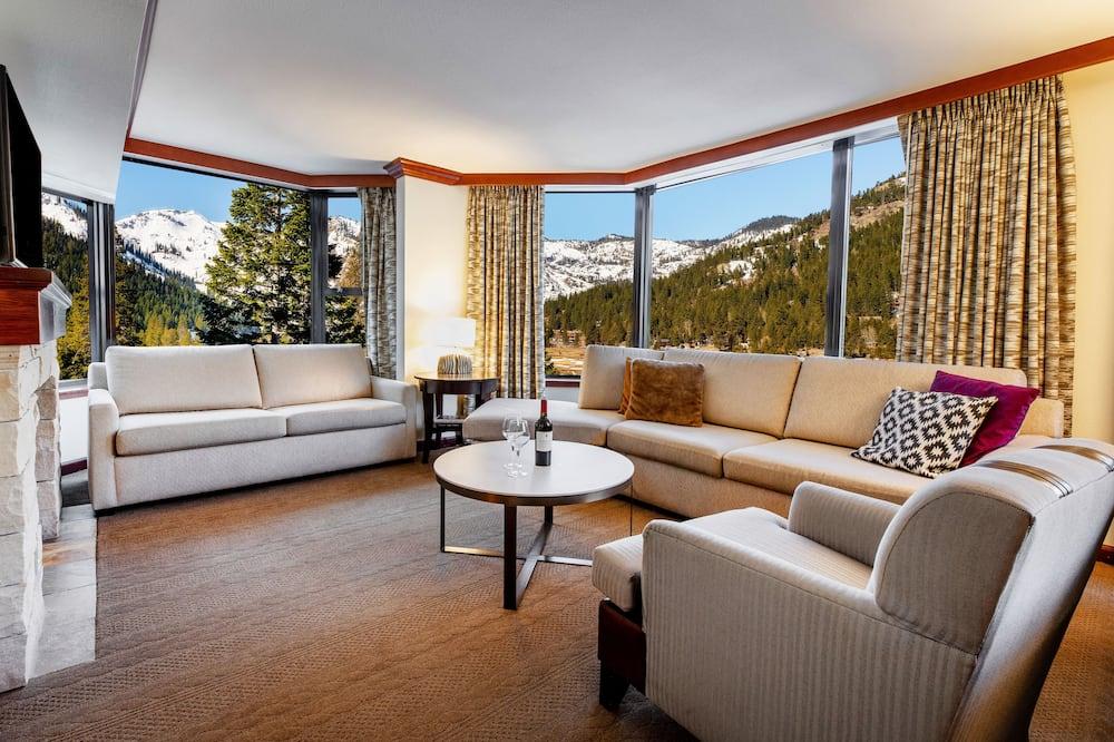 豪華套房, 壁爐, 山谷景觀 - 客廳