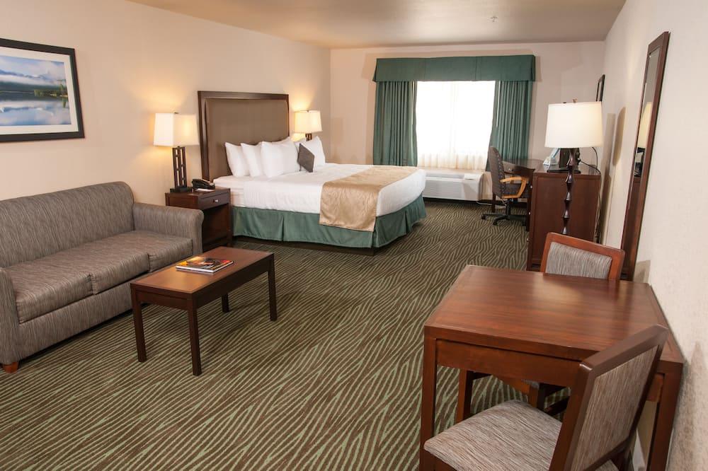 Deluxe kamer, 1 kingsize bed, niet-roken, koelkast & magnetron - Woonruimte