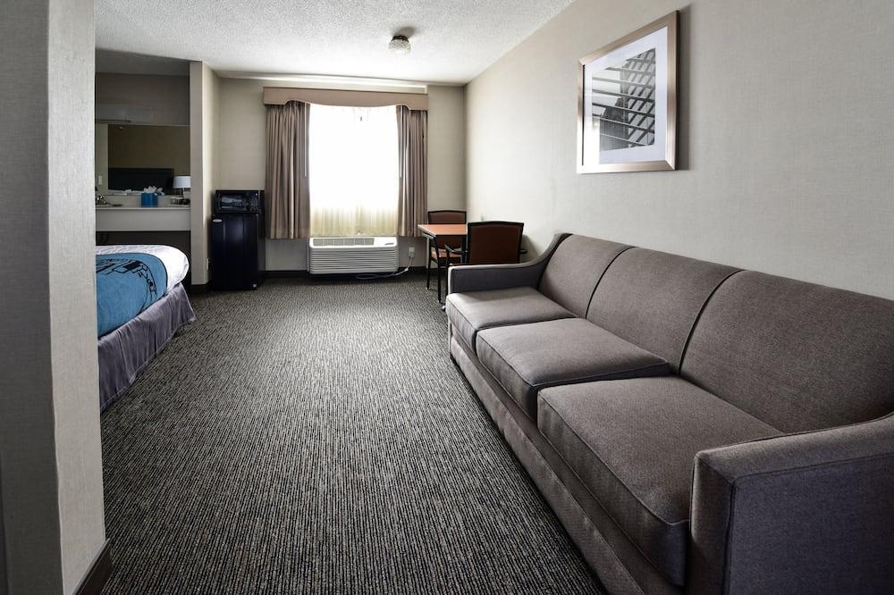 Luxury-Suite, 1 Schlafzimmer, Kühlschrank und Mikrowelle, zum Garten hin - Wohnbereich