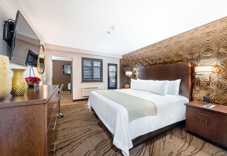 Ellis Island Hotel, Las Vegas, Suite, 1King-Bett, Balkon, Zimmer