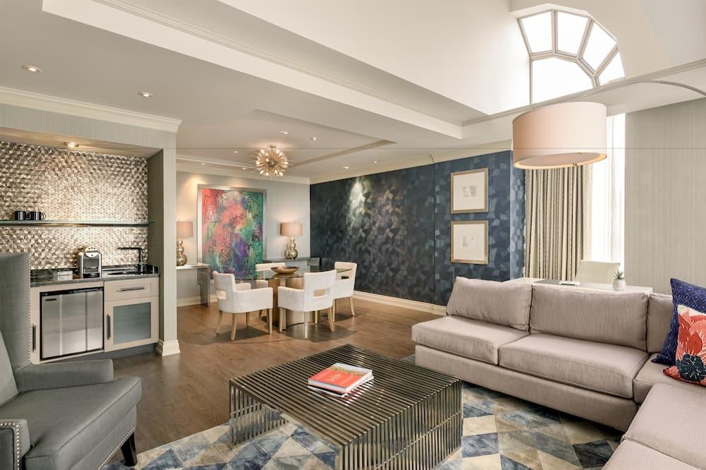 套房, 1 張特大雙人床, 非吸煙房, 雪櫃 (Penthouse) - 客廳