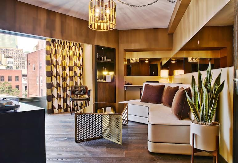 The Roxy Hotel Tribeca, New York, Rom – deluxe, 1 kingsize-seng med sovesofa, Oppholdsområde