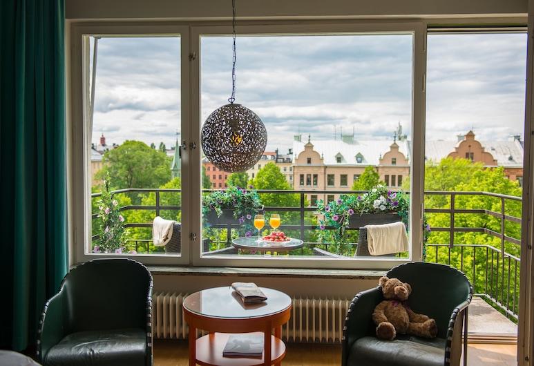 Hotel Rival, Stockholm, Dvojlôžková izba typu Deluxe, 1 extra veľké dvojlôžko, balkón, Výhľad z balkóna
