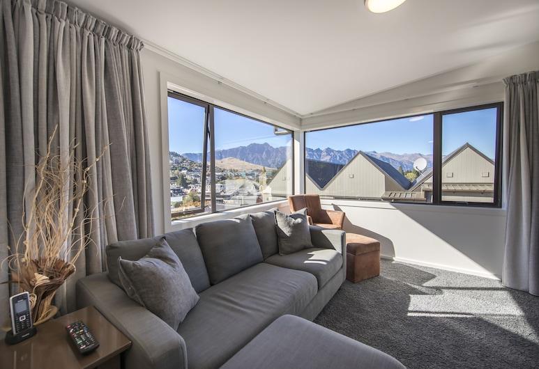 Lomond Lodge Motel & Apartments, Queenstown, Familjelägenhet - 2 sovrum - 2 badrum - utsikt mot bergen, Vardagsrum