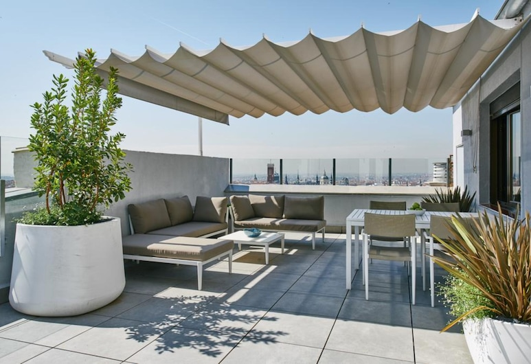 Regente, Madrid, Exklusiv lägenhet - 3 sovrum - utsikt mot staden, Terrass