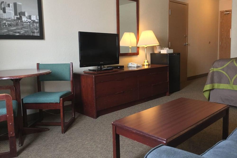 Business szoba, 1 queen (nagyméretű) franciaágy és egy kihúzható kanapé, nemdohányzó - Nappali rész
