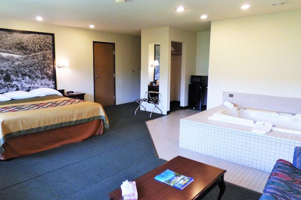 豪華開放式套房, 1 張特大雙人床, 非吸煙房 - 按摩浴缸