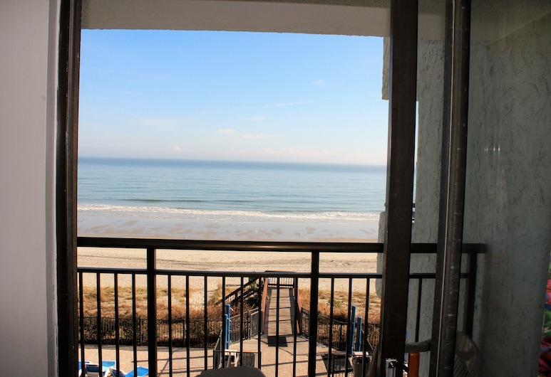 Blue Water Resort, Myrtle Beach, Suite Studio Deluxe, 1 grand lit et 1 canapé-lit, vue partielle sur l'océan, vue mer, Balcon