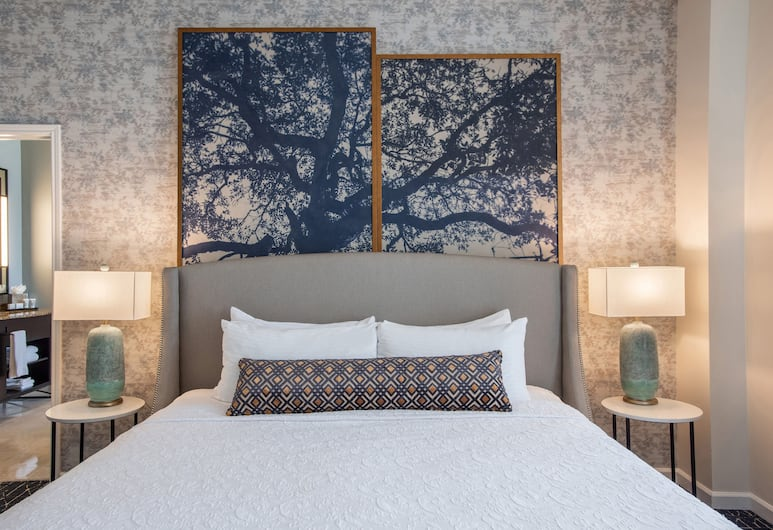 Magnolia Hotel Houston, A Tribute Portfolio Hotel, Houston, Elnöki lakosztály, 1 king (extra méretű) franciaágy, kilátással a városra, sarok, Vendégszoba