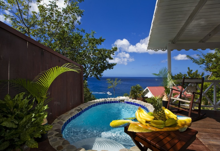 Ti Kaye Resort & Spa - Adults Only, Anse La Raye, Romantic Kulübe, 1 En Büyük (King) Boy Yatak, Kişiye Özel Havuzlu, Okyanus Manzaralı, Teras/Veranda
