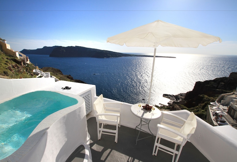 Finesse Suites, Santorini, Suite Lua de Mel, Vista Mar (Cave-Private Indoor or Outdoor HotTub), Quarto