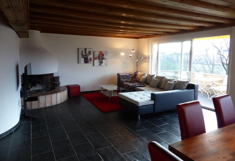 Penthouse Apartment Vaduz, Vaduz, Leilighet, 1 dobbeltseng med sovesofa, balkong, utsikt mot fjell, Oppholdsområde
