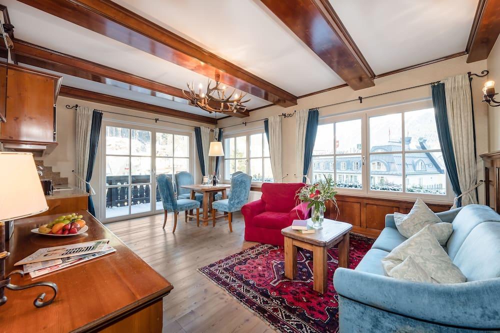 อพาร์ทเมนท์, 1 ห้องนอน, ระเบียง (4 Persons) - พื้นที่นั่งเล่น