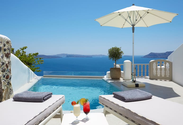 Filotera Suites, Santorini, Grand Cave Suite, Heated pool, Jetted tub , Outdoor Pool