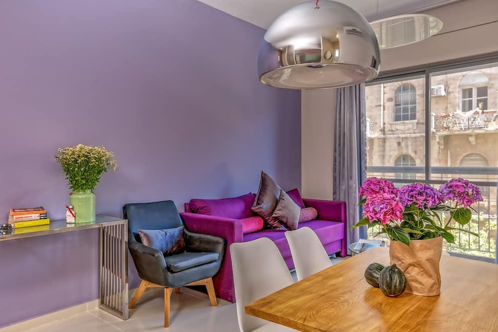 Jaffa 35 Designer One-Bedroom Apartment with Balcony - Living Area