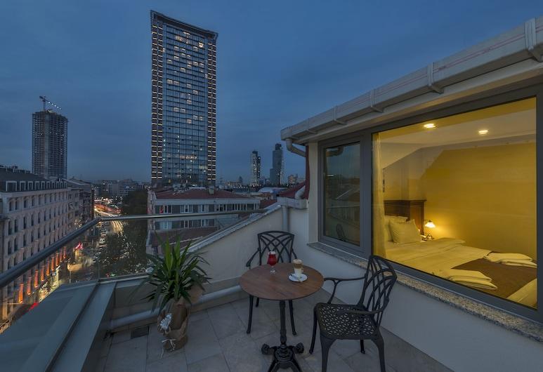 Blisstanbul Hotel, Istanbul, Dvojlôžková izba typu Deluxe, 1 extra veľké dvojlôžko, terasa, výhľad na mesto, Terasa