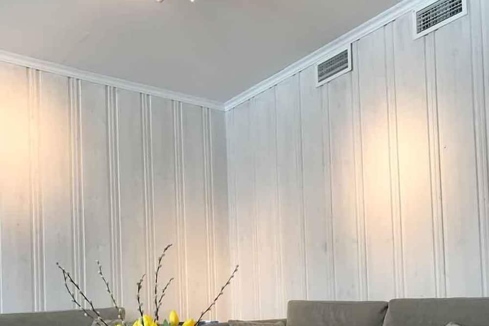 Kambarys šeimai, bendras vonios kambarys - Svetainės zona