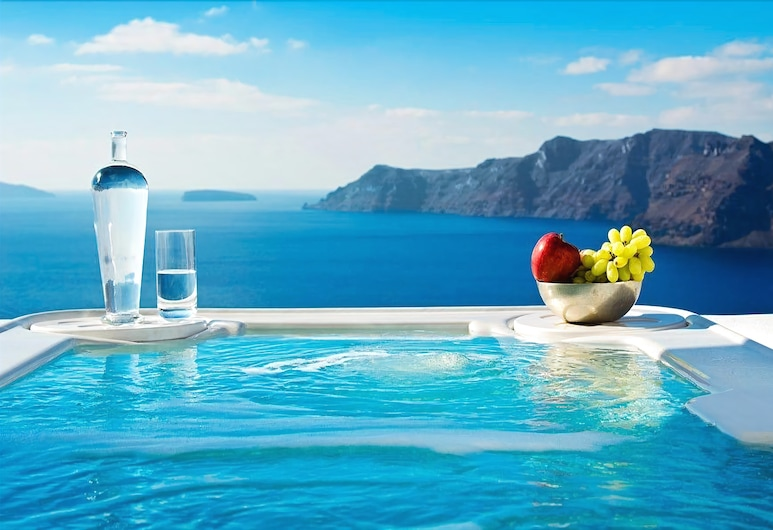Art Maisons Aspaki Exclusive Suites, Santorini, Suite – honeymoon, 1 soverom, utsikt mot sjø, Boblebad