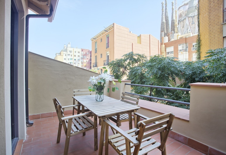 Short Stay Group Sagrada Familia Serviced Apartments, Barcelone, Penthouse, 1 chambre, terrasse, Chambre