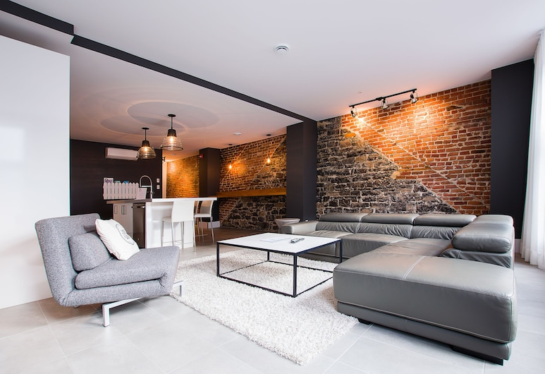 Les Lofts St-Joseph - By Les Lofts Vieux-Quebec, Quebec, Loftový byt, 2 spálne (202), Obývacie priestory