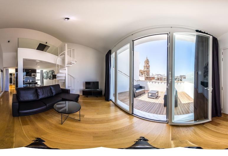Picasso Suites Málaga Apartamentos, Málaga, Loftsleilighet – deluxe, 3 soverom, terrasse, Utsikt fra rommet