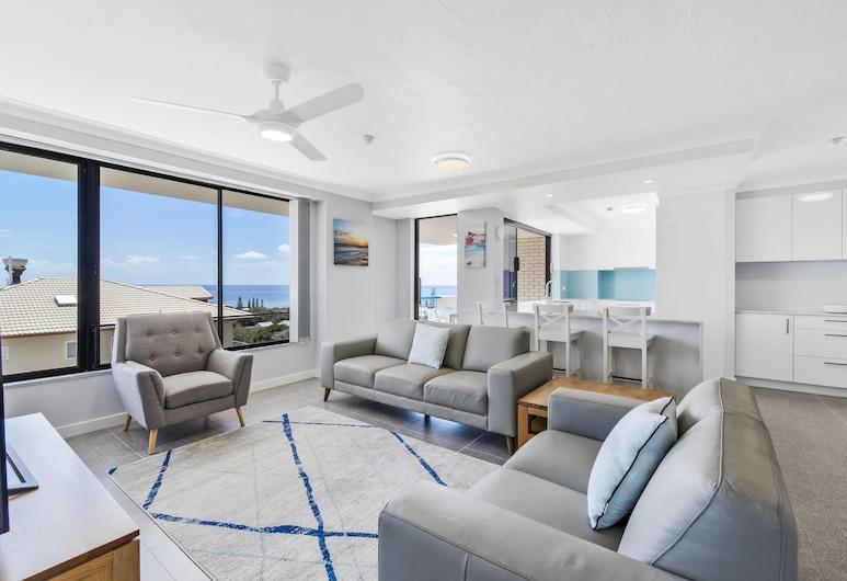 Burgess @ Kings Beach Apartments, Кингс-Бич, Апартаменты, 3 спальни, вид на море, Зона гостиной