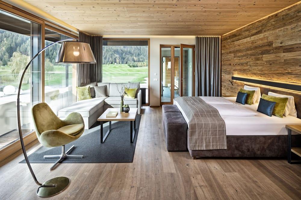 Penthouse Exclusiva, 1 cama king-size com sofá-cama, Vista Golfe (Sauna) - Área de Estar