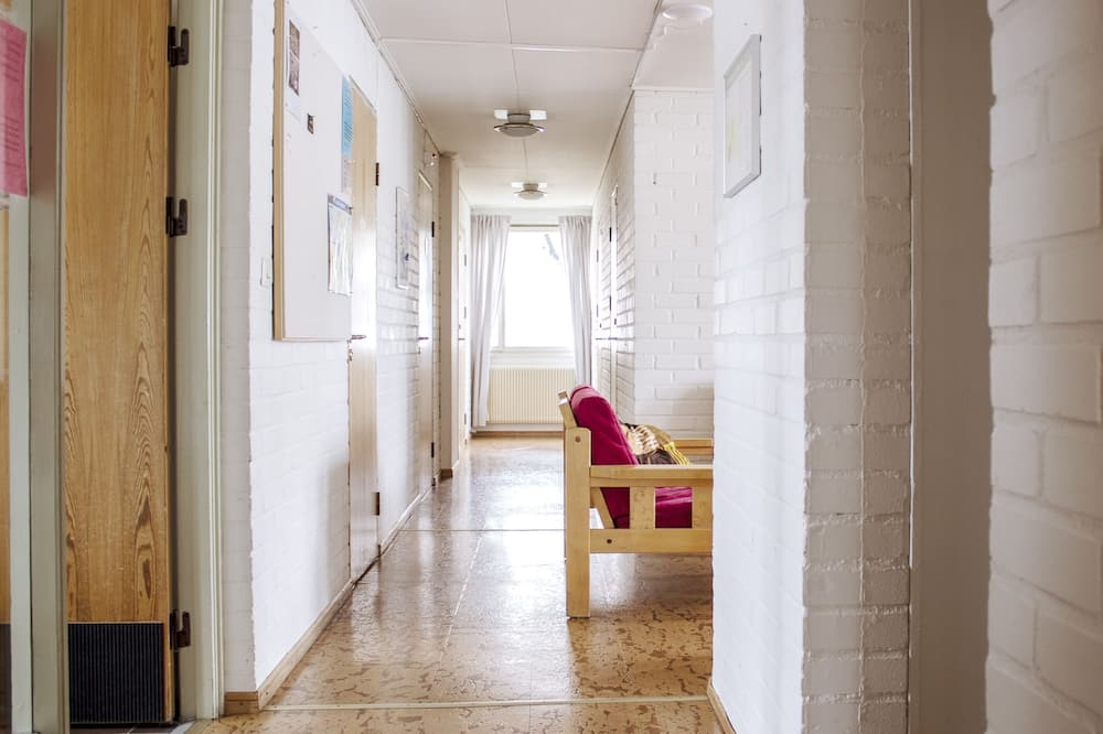 Vienvietis kambarys su pagrindiniais patogumais, bendras vonios kambarys - Svetainės zona