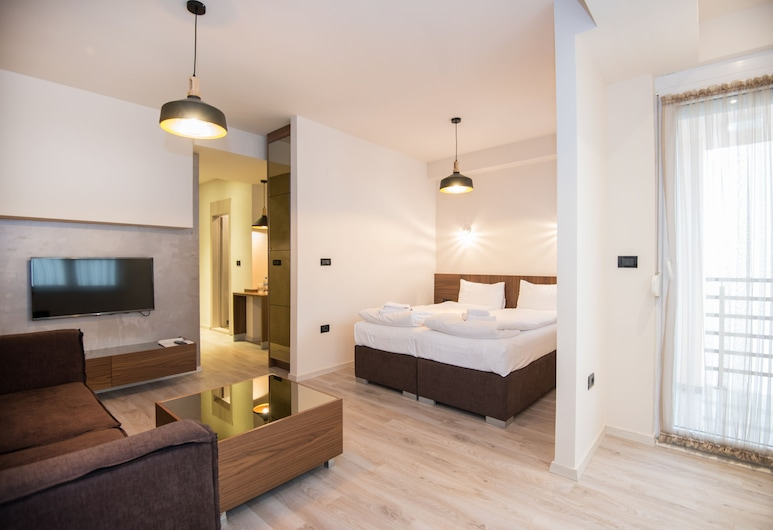 Hotel Vlaho, Skopje, Апартаменти категорії «Прем'єр», 1 спальня, обладнано для інвалідів, тераса, Номер