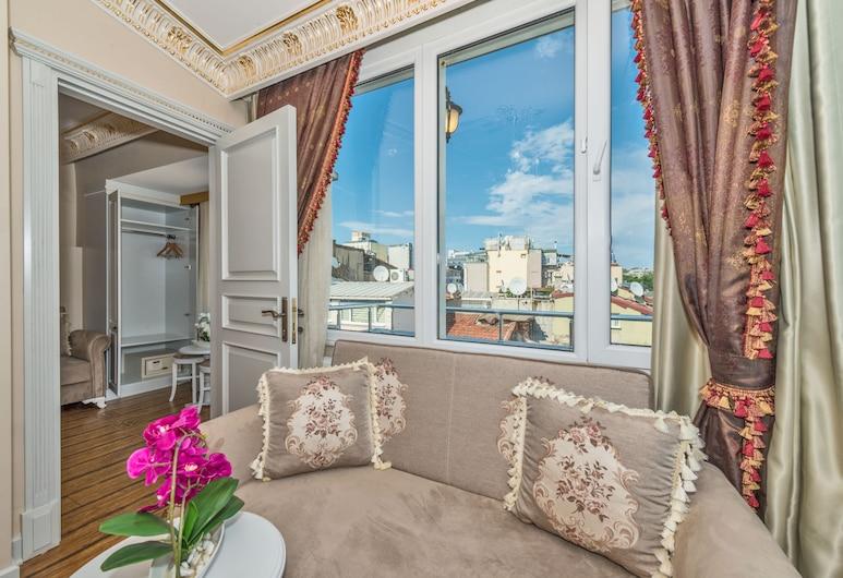 IQ ハウジーズ, イスタンブール, ラグジュアリー ペントハウス 1 ベッドルーム, リビング ルーム