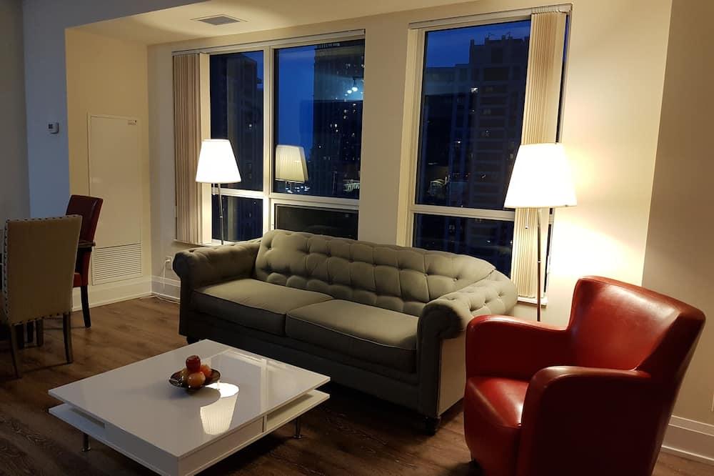 Departamento Deluxe, 2 habitaciones, vista al parque, en la esquina - Sala de estar