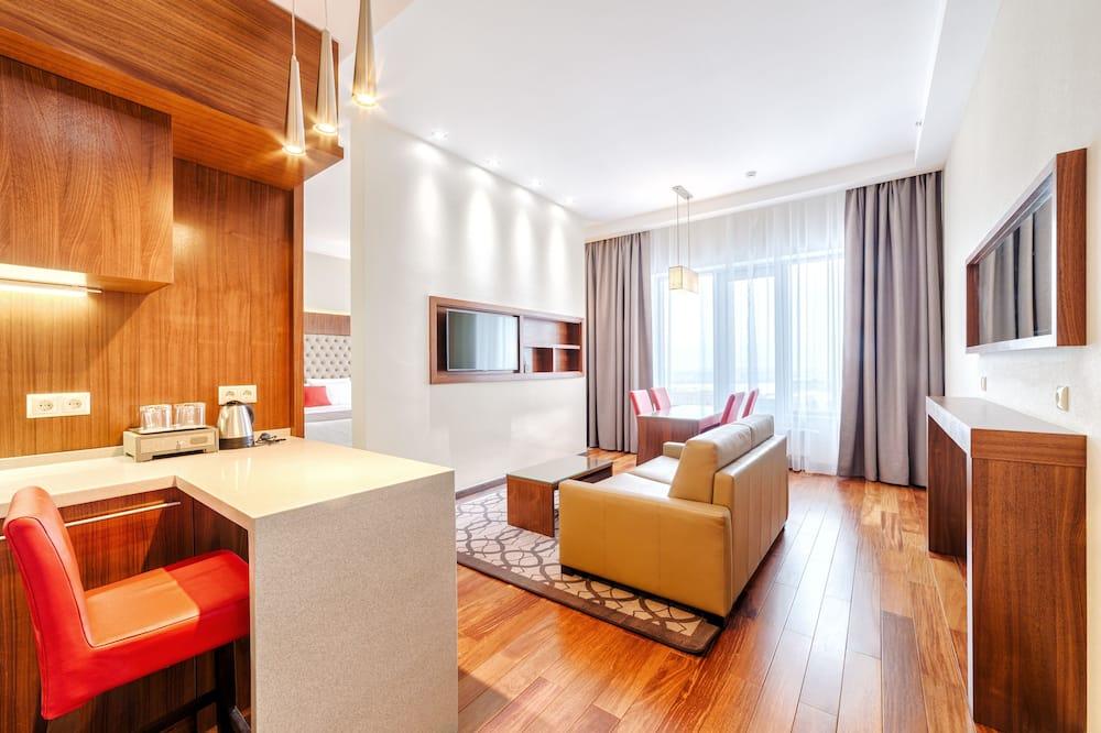 Chambre, 1 très grand lit et 1 canapé-lit, non-fumeurs - Salle de séjour