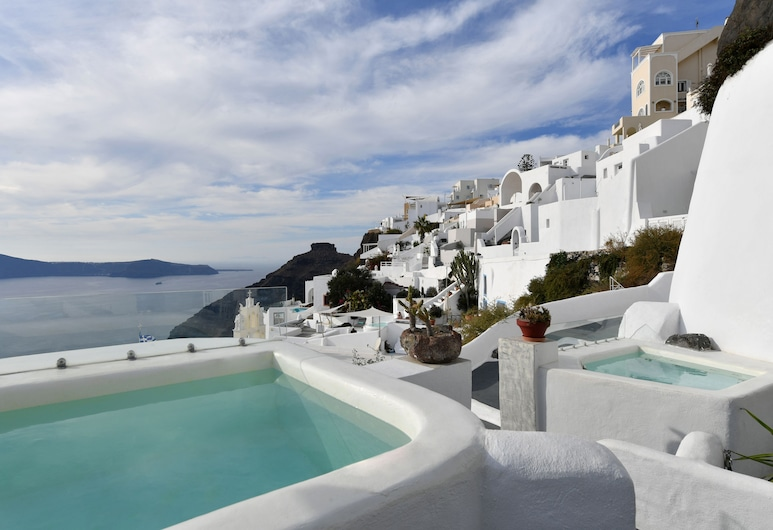 Exclusive Plan Suites, Santorini, Deluxe Suite, Hot Tub (Caldera View), Jetted Tub