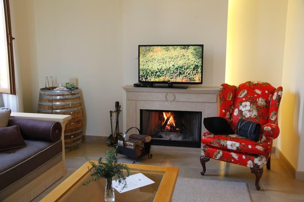 Apartmán typu Junior, 1 spálňa, krb, výhľad na záhradu - Obývacie priestory