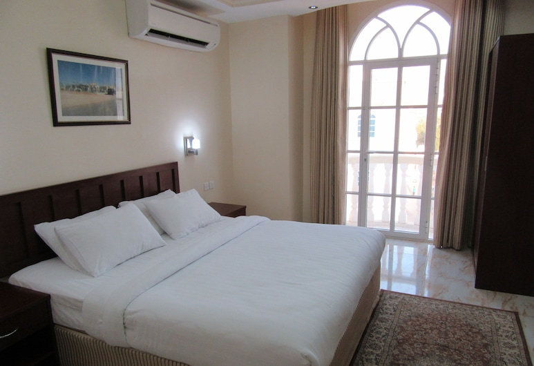 Alferdous Hotel Apartments, Maskat, Familienapartment, 1King-Bett, Stadtblick, Zimmer