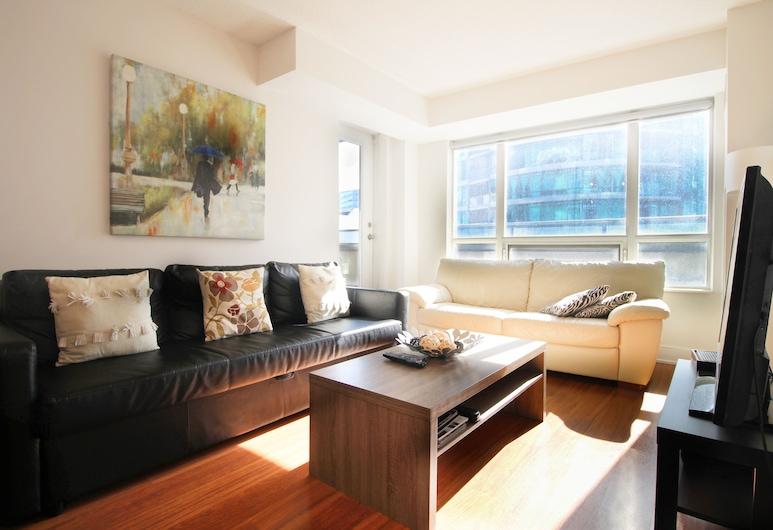 Livingsuites Toronto - 20 Blue Jays Way, Toronto, Deluxe appartement, 2 slaapkamers (CN Tower View), Woonruimte