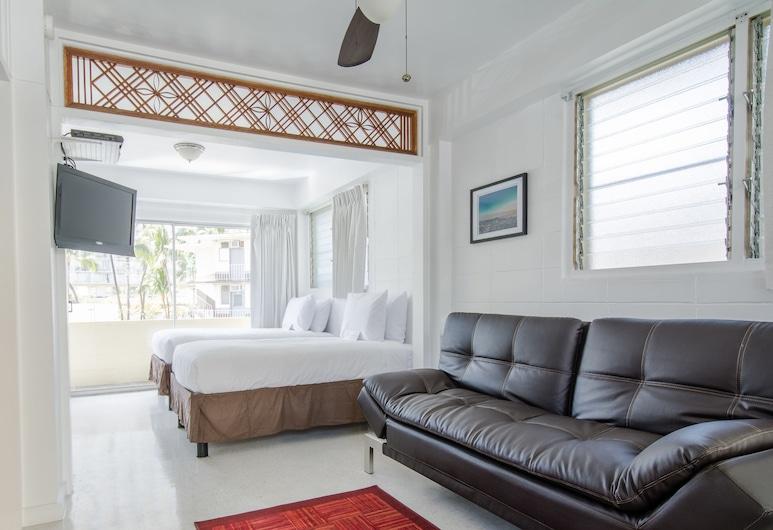 Stay Condominiums Waikiki, Honolulu, Family Condo, 1 Bedroom, Kitchen, Living Area