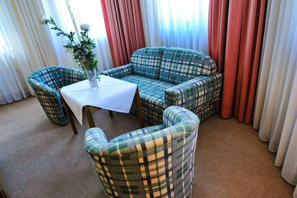 Apartmá s panoramatickým výhledem, 2 ložnice, lednička, výhled na řeku - Obývací prostor