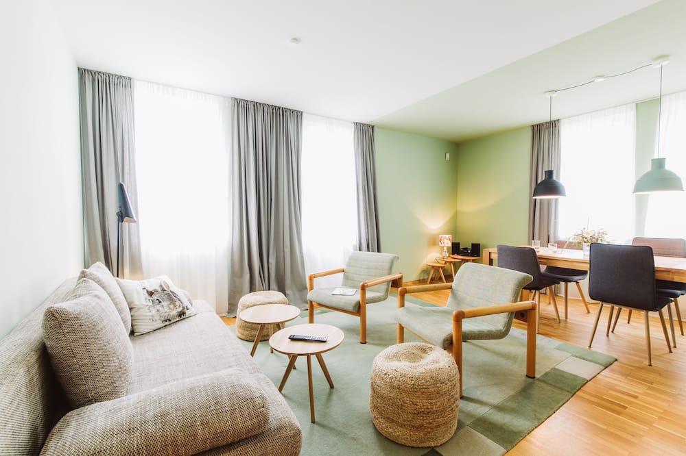 Apartment, 1 Schlafzimmer, Nichtraucher, Terrasse (Hase) - Wohnzimmer
