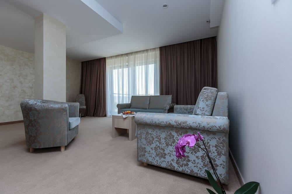 Familien-Suite, Balkon, Meerblick - Wohnbereich