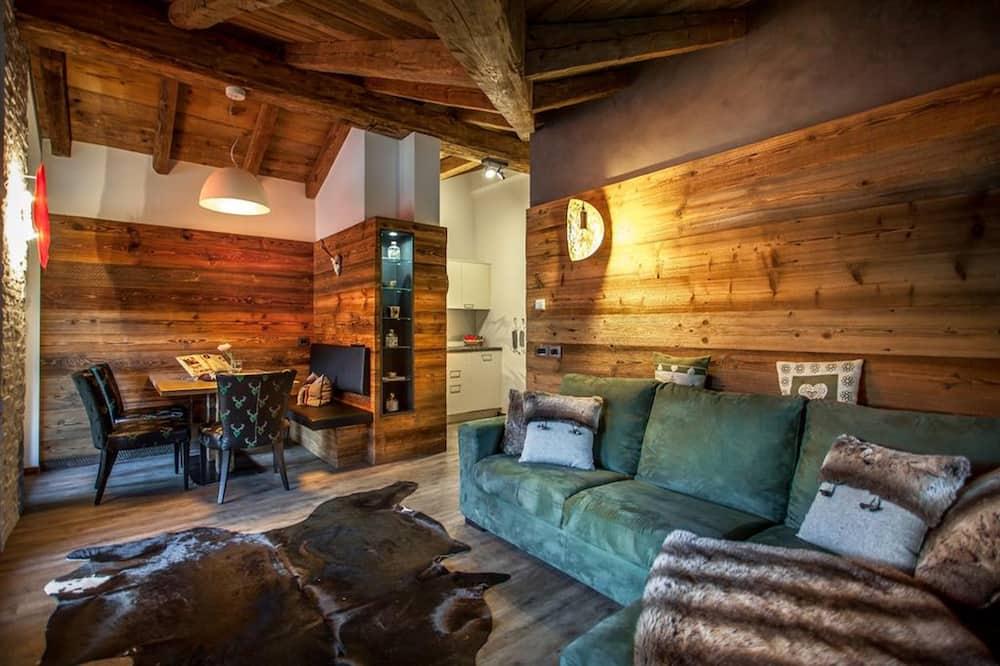 Išskirtinio tipo apartamentai, 2 miegamieji, vaizdas į kalnus - Svetainė