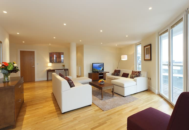 SACO Canary Wharf - Trinity Tower, London, Standard-Apartment, 2 Schlafzimmer, Küche, Wohnbereich