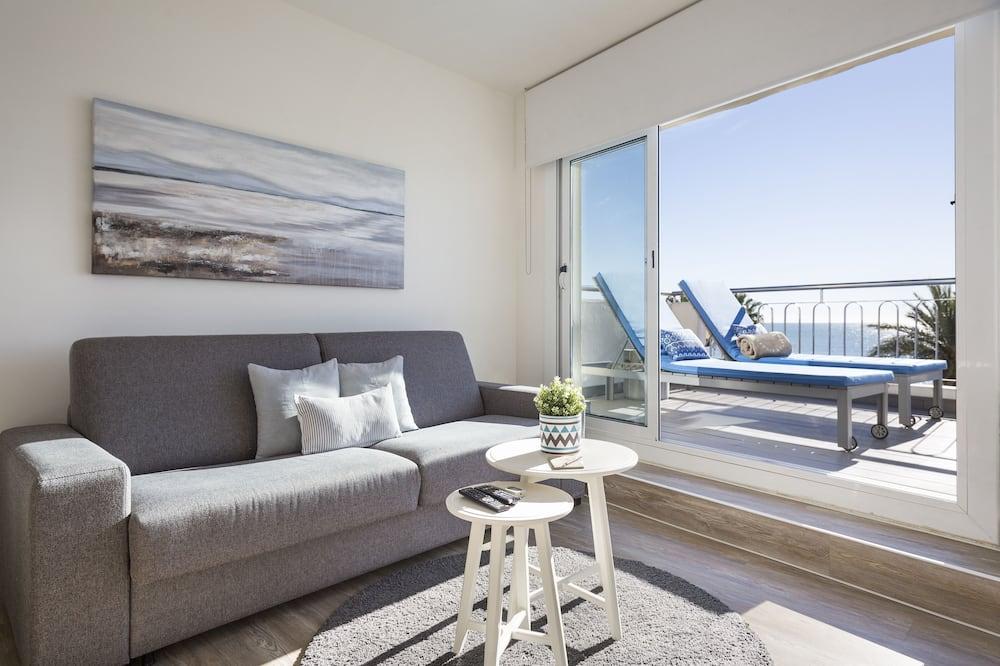 Panoramic Penthouse, 2 Bedrooms, Sea View, Beachfront (Paseo de la Ribera 44) - Living Room
