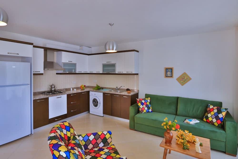 Apartamentai, 2 miegamieji, pirmas aukštas - Svetainės zona