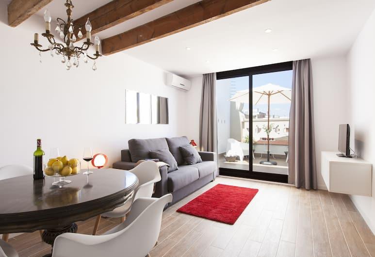 Aspasios Charming Flats, Барселона, Панорамные апартаменты, 1 спальня, вид на город, Зона гостиной